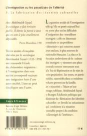 L'immigration ou les paradoxes de l'altérité t.3 ; la fabrication des identités culturelles - 4ème de couverture - Format classique