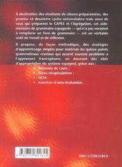 Aide-Memoire De Grammaire Espagnole - 4ème de couverture - Format classique