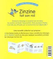 Zinzine Fait Son Nid - 4ème de couverture - Format classique