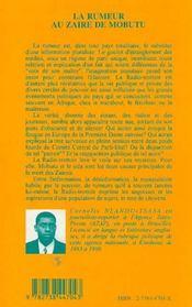 La Rumeur Au Zaire De Mobutu ; Radio-Trottoir A Kinshasa - 4ème de couverture - Format classique