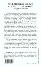 Competences Sociales Et Relations A Autrui ; Une Approche Complexe - 4ème de couverture - Format classique