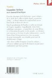 Giannino Furioso ou le journal d'un fripon - 4ème de couverture - Format classique