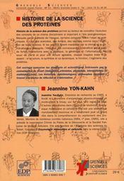 Histoire de la science des proteines - 4ème de couverture - Format classique