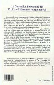 La Convention Europeenne Des Droits De L'Homme Et Le Juge Francais - 4ème de couverture - Format classique