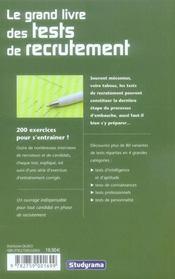 Le grand livre des tests de recrutement - 4ème de couverture - Format classique