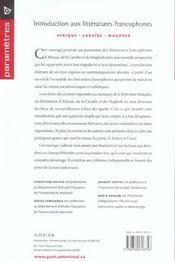 Introduction aux littératures francophones - 4ème de couverture - Format classique