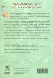 Grammaire nouvelle de la langue latine - 4ème de couverture - Format classique
