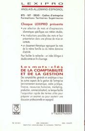 Les mots-clés de la comptabilité et de la gestion ; espagnol - 4ème de couverture - Format classique