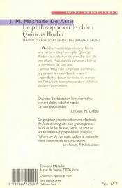 Le philosophe ou le chien Qunicas Borba - 4ème de couverture - Format classique