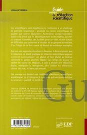 Guide pratique de rédaction scientifique - 4ème de couverture - Format classique