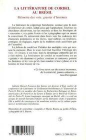 La Litterature De Cordel Au Bresil ; Memoire Des Voix, Grenier D'Histoires - 4ème de couverture - Format classique