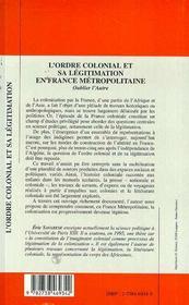 L'Ordre Colonial Et Sa Legitimation En France Metropolitaine ; Oublier L'Autre - 4ème de couverture - Format classique