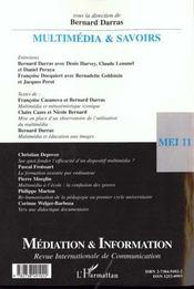 Revue Mediation & Information N.11 ; Multimedia Et Savoirs - 4ème de couverture - Format classique