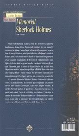 Memorial sherlock holmes - 4ème de couverture - Format classique