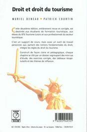 Droit et droit du tourisme - 4ème de couverture - Format classique