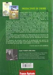 Productivite De L'Herbe - 4ème de couverture - Format classique