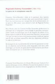 Reginald Aubrey Fessenden Le Pere De La Telephponie Sans Fil - 4ème de couverture - Format classique