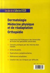 Dermatologie, médecine physique et de réadaptation, orthopédie - 4ème de couverture - Format classique