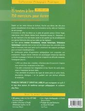 15 textes à lire ; 150 exercices pour écrire ; CM1, CM2, 6e - 4ème de couverture - Format classique