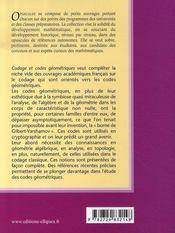 Codage et codes géométriques ; culture, boîte à outils, codage et géometrie algébrique t.7 - 4ème de couverture - Format classique