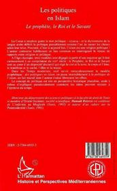 Les politiques en Islam ; le prophète, le roi et le savant - 4ème de couverture - Format classique