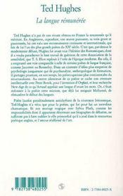Ted Hughes ; La Langue Remuneree - 4ème de couverture - Format classique