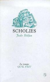 Scholies - Couverture - Format classique