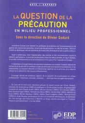 Question de la precaution en milieu professionnel - 4ème de couverture - Format classique