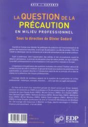 La question de la precaution en milieu professionnel - 4ème de couverture - Format classique