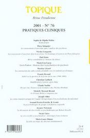 Topique n 76 pratiques cliniques - 4ème de couverture - Format classique