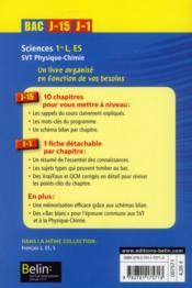 Bac J-15 J-1 ; Sciences ; 1ères L, Es (Edition 2013) - 4ème de couverture - Format classique