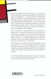 Le Langage Et La Bibliotheque C++ Norme Iso - 4ème de couverture - Format classique