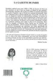 Gazette De Paris (La) Un Journal Royaliste Pendant - 4ème de couverture - Format classique