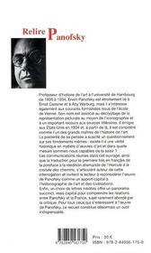 Relire Panofsky ; principes et théories de l'histoire de l'Art - 4ème de couverture - Format classique