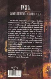 Makeda ou la fabuleuse histoire de la reine saba - 4ème de couverture - Format classique