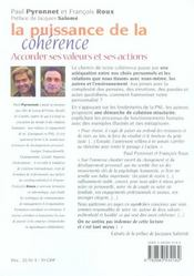 Puissance de la coherence (la) - 4ème de couverture - Format classique