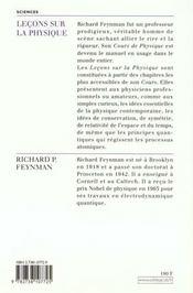 Leçons sur la physique - 4ème de couverture - Format classique
