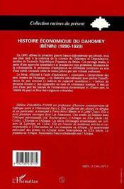 Histoire Economique Du Dahomey Benin T.1 - 4ème de couverture - Format classique