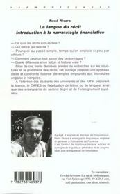 La Langue Du Recit ; Introduction A La Narratologie Enonciative - 4ème de couverture - Format classique