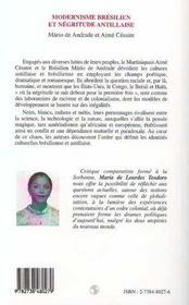 Modernisme brésilien et négritude antillaise ; Andrade, Mario de ; Césaire, Aimé - 4ème de couverture - Format classique