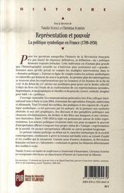 Représentation et pouvoir ; la politique symbolique en France, 1789-1830 - 4ème de couverture - Format classique