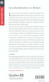 Les dictionnaires Le Robert ; genèse et évolution - 4ème de couverture - Format classique