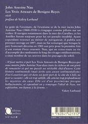 Trois Amours De Benigno Reyes (Les) - 4ème de couverture - Format classique