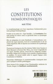 Les Constitutions Homeopathiques - 4ème de couverture - Format classique