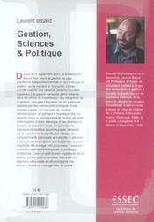 Gestion, sciences et politiques - 4ème de couverture - Format classique
