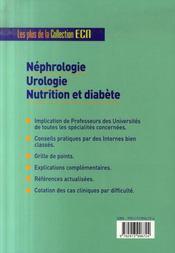 Néphrologie, urologie, nutrition et diabète - 4ème de couverture - Format classique
