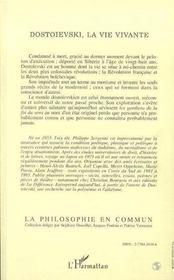 Dostoievski La Vie Vivante - 4ème de couverture - Format classique