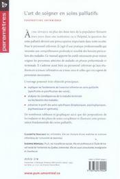 L'art de soigner en soins palliatifs ; perspectives infirmières - 4ème de couverture - Format classique