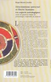 Determinisme universel et liberte humaine ; les aspects astrologiques - 4ème de couverture - Format classique