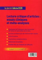 Lecture critique d'articles médicaux - 4ème de couverture - Format classique